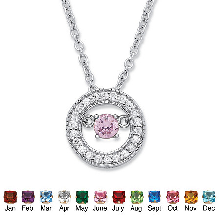 ".20 TCW ""CZ in Motion"" Birthstone and CZ Halo Pendant Necklace in Sterling Silver 18"" at PalmBeach Jewelry"