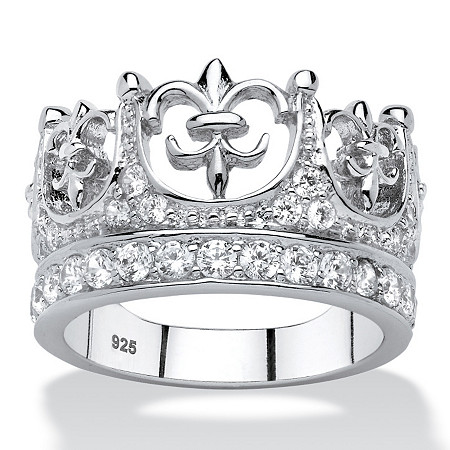 .96 TCW Round Cubic Zirconia Crown Ring in Platinum over .925 Sterling Silver at PalmBeach Jewelry