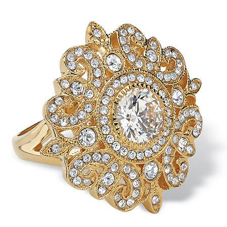 2 TCW Round Cubic Zirconia and Crystal Vintage-Style Floral Cocktail Ring 14k Gold-Plated at PalmBeach Jewelry