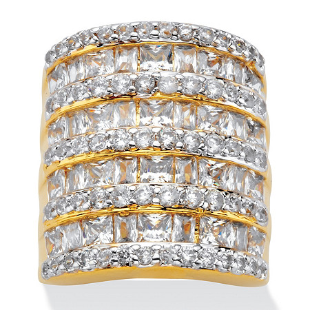 6.26 TCW Baguette-Cut and Round Cubic Zirconia Channel-Set Cocktail Ring Gold-Plated at PalmBeach Jewelry