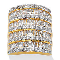 6.26 TCW Baguette-Cut and Round Cubic Zirconia Channel-Set Cocktail Ring 14k Gold-Plated