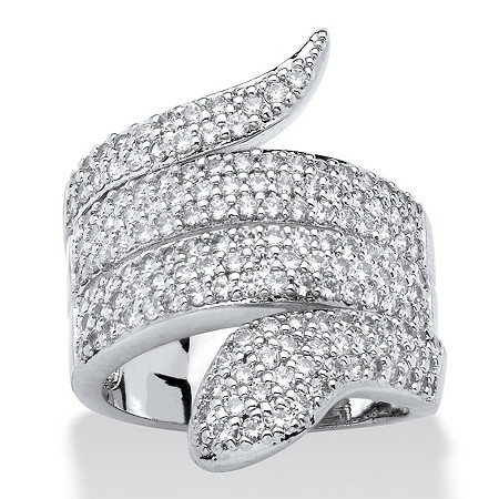2.25 TCW Round Cubic Zirconia Coiled Snake Ring Platinum-Plated at PalmBeach Jewelry