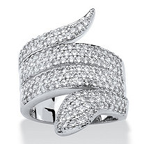 2.25 TCW Round Cubic Zirconia Coiled Snake Ring Platinum-Plated