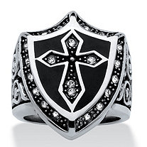 Men's Cross and Shield Ring With Round Pave Crystal Accents in Antiqued Stainless Steel