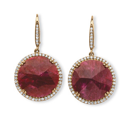 28.81 TCW Genuine Hand-Cut Round Ruby and Pave CZ Halo Earrings in 14k Gold over Sterling Silver at PalmBeach Jewelry