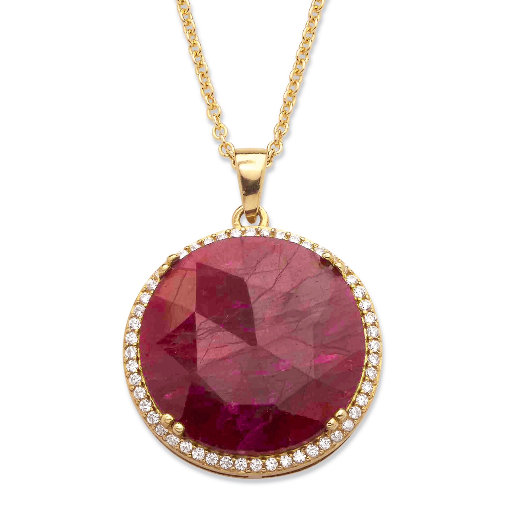 23 92 Tcw Genuine Hand Cut Round Ruby And Pave Cz Necklace