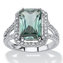SETA JEWELRY .54 TCW Emerald-Cut Created Green Spinel Halo Split Shank Cocktail Ring in Platinum over Sterling Silver