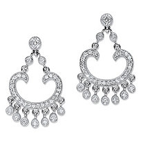 1.13 TCW Round Cubic Zirconia Chandelier Drop Earrings Platinum-Plated 1.25""
