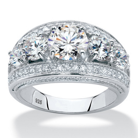 Round Graduated Cubic Zirconia Anniversary Ring 3.41 TCW in Platinum over Sterling Silver at PalmBeach Jewelry