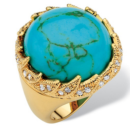 .45 TCW Round Viennese Turquoise and Cubic Zirconia Cabochon Cocktail Ring 18k Gold-Plated at PalmBeach Jewelry