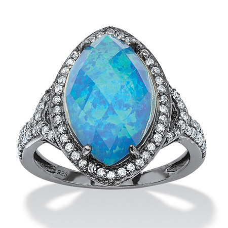 6.65 TCW Marquise Simulated Opal and CZ Accent Halo Ring in Black Ruthenium-Plated Sterling Silver at PalmBeach Jewelry