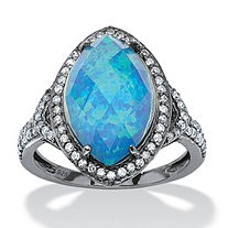 6.65 TCW Marquise Simulated Opal and CZ Accent Halo Ring in Black Ruthenium-Plated Sterling Silver