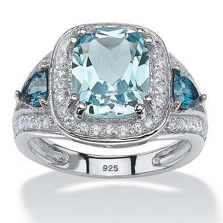 4.33 TCW Cushion-Cut Genuine Sky and London Blue Topaz CZ Accent Halo Ring in Platinum over Sterling Silver at PalmBeach Jewelry