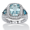 Related Item 4.64 TCW Cushion-Cut Genuine Sky and London Blue Topaz CZ Accent Halo Ring in Platinum over Sterling Silver