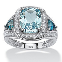 4.33 TCW Cushion-Cut Genuine Sky and London Blue Topaz CZ Accent Halo Ring in Platinum over Sterling Silver