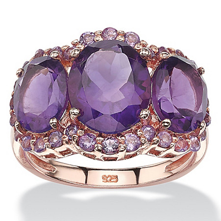 5.86 TCW Genuine Oval-Cut and Pave Purple Amethyst Ring in Rose Gold over Sterling Silver at PalmBeach Jewelry