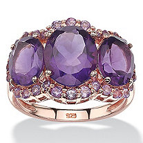 5.86 TCW Genuine Oval-Cut and Pave Purple Amethyst Ring in Rose Gold over Sterling Silver