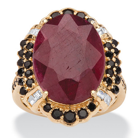 15.97 TCW Genuine Oval-Cut Ruby and Black Spinel Cocktail Ring in 14k Gold over Sterling Silver at PalmBeach Jewelry