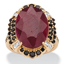 15.97 TCW Genuine Oval-Cut Ruby and Black Spinel Cocktail Ring in 14k Gold over Sterling Silver
