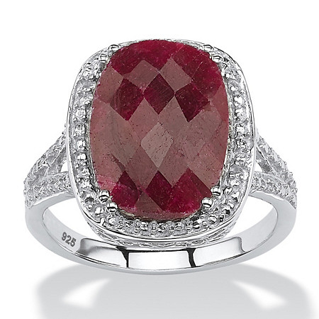 7.25 TCW Genuine Checkerboard-Cut Oval Ruby Ring in Rhodium-Plated Sterling Silver at PalmBeach Jewelry