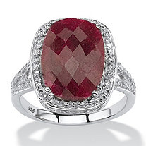 7.25 TCW Genuine Checkerboard-Cut Oval Ruby Ring in Rhodium-Plated Sterling Silver