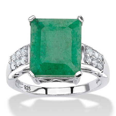 5.25 TCW Emerald-Cut Genuine Emerald and White Topaz Ring Rhodium-Plated Sterling Silver at PalmBeach Jewelry