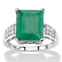 5.25 TCW Emerald-Cut Genuine Emerald and White Topaz Ring Rhodium-Plated Sterling Silver