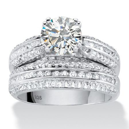2.55 TCW Round Cubic Zirconia Two-Piece Bridal Ring Set in Platinum over .925 Sterling Silver at PalmBeach Jewelry