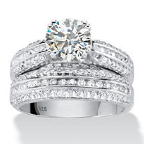 2.55 TCW Round Cubic Zirconia Two-Piece Bridal Ring Set in Platinum over .925 Sterling Silver