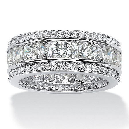 4.66 TCW Emerald-Cut and Round Triple-Row Cubic Zirconia Eternity Ring Platinum over Sterling Silver at PalmBeach Jewelry