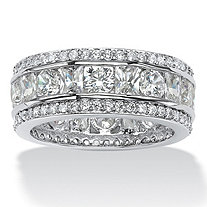 4.66 TCW Emerald-Cut and Round Triple-Row Cubic Zirconia Eternity Ring Platinum over Sterling Silver