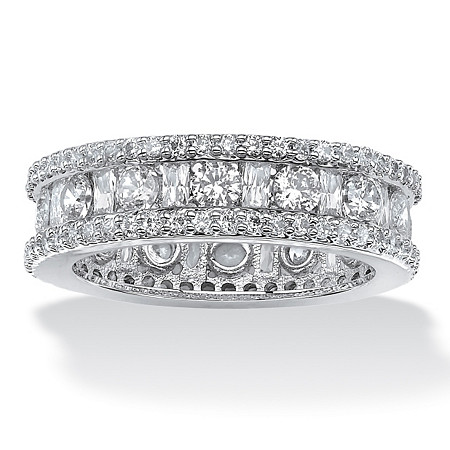 3.22 TCW Round and Baguette-Cut Cubic Zirconia Eternity Channel Ring Platinum over Sterling Silver at PalmBeach Jewelry