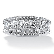 SETA JEWELRY 3.22 TCW Round and Baguette-Cut Cubic Zirconia Eternity Channel Ring Platinum over Sterling Silver