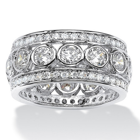 4.70 TCW Round Bezel-Set Cubic Zirconia Eternity Ring in Platinum over Sterling Silver at PalmBeach Jewelry