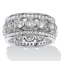 SETA JEWELRY 4.70 TCW Round Bezel-Set Cubic Zirconia Eternity Ring in Platinum over Sterling Silver