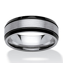 Men's Satin and Brushed Two-Tone Ring in Stainless Steel and Black Ion-Plated Stainless Steel