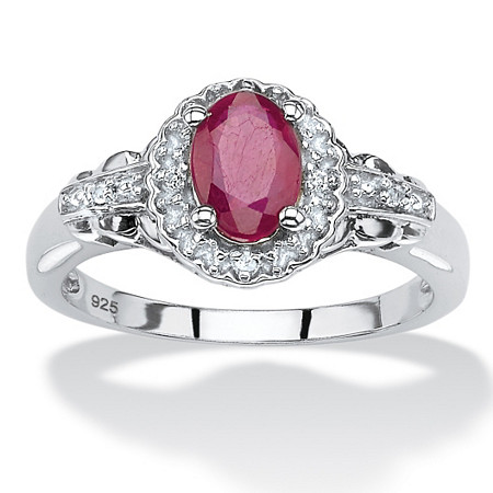 1.18 TCW Oval-Cut Genuine Ruby and Topaz Halo Cocktail Ring in Rhodium-Plated Sterling Silver at PalmBeach Jewelry