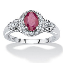 SETA JEWELRY 1.18 TCW Oval-Cut Genuine Ruby and Topaz Halo Cocktail Ring in Rhodium-Plated Sterling Silver