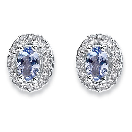 1.04 TCW Oval Genuine Tanzanite and Topaz Stud Earrings in Rhodium-Plated Sterling Silver at PalmBeach Jewelry