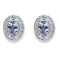1.04 TCW Oval Genuine Tanzanite and Topaz Stud Earrings in Rhodium-Plated Sterling Silver