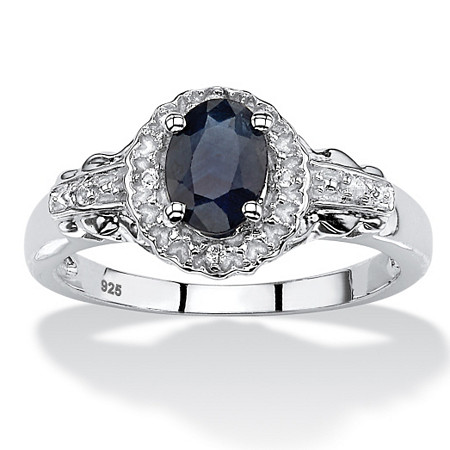 1.12 TCW Oval Genuine Blue Sapphire and Topaz Cocktail Ring in Rhodium-Plated Sterling Silver at PalmBeach Jewelry
