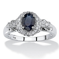 1.12 TCW Oval Genuine Blue Sapphire and Topaz Cocktail Ring in Rhodium-Plated Sterling Silver