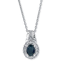 SETA JEWELRY 1 TCW Genuine Oval Blue Sapphire and Topaz Pendant Necklace in Rhodium-Plated Sterling Silver