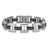 Men's Two-Tone Bar-Link Bracelet in Stainless Steel and Black Rubber 8 3/4""