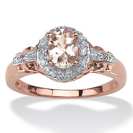 Oval-Cut Genuine Pink Morganite and Topaz Halo Ring in Rose Gold-Plated Sterling Silver (.82 cttw) at PalmBeach Jewelry