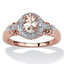 SETA JEWELRY .82 TCW Oval-Cut Genuine Pink Morganite and Topaz Halo Ring in Rose Gold-Plated Sterling Silver