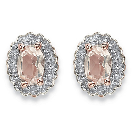 .94 TCW Oval Genuine Morganite and Topaz Halo Stud Earrings in Rose Gold-Plated Sterling Silver at PalmBeach Jewelry