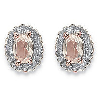 .94 TCW Oval Genuine Morganite and Topaz Halo Stud Earrings in Rose Gold-Plated Sterling Silver