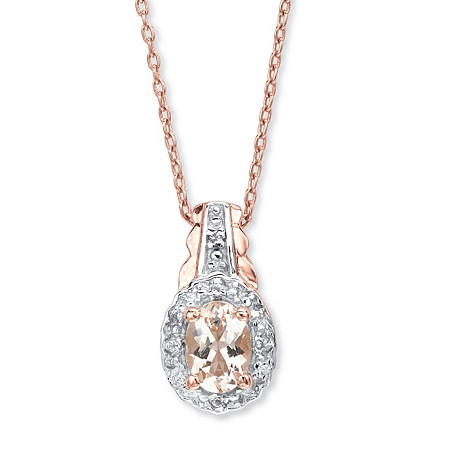 .80 TCW Oval Genuine Pink Morganite and Topaz Pendant Necklace in Rose Gold-Plated Sterling Silver at PalmBeach Jewelry