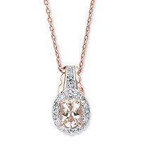 .80 TCW Oval Genuine Pink Morganite and Topaz Pendant Necklace in Rose Gold-Plated Sterling Silver